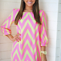 RESTOCK: Cheery For Chevron Dress: Neon Pink | Hope's