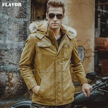 Men's real leather jacket yellow jackets hooded fur hat Genuine Leather jackets winter warm padding cotton coat men