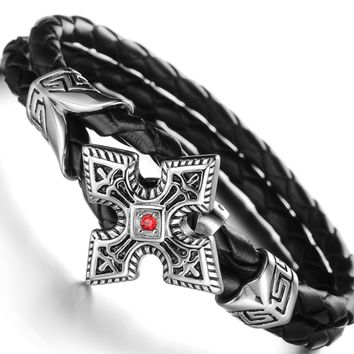 Steel art cross leather bracelet-Wristband for men