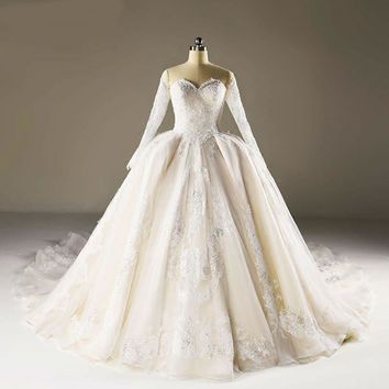 Sweetheart wedding dress with bead appliques lace-up ball gown wedding dresses long sleeve