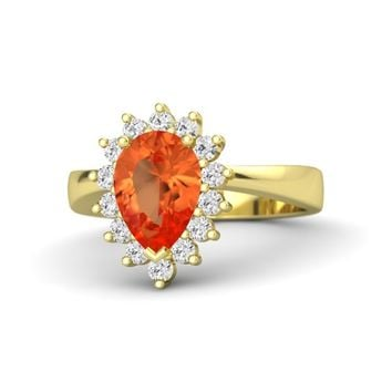 Pear Fire Opal 18K Yellow Gold Ring with White Sapphire