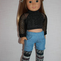 18 inch doll clothes, black lace look crop top with mesh sleeves, blue skinny shorts with built in leggings, american girl ,maplelea