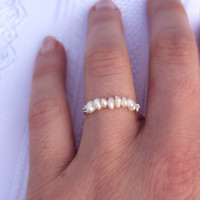 Petite Pearl Ring - Natural Freshwater Pearls - Silver ring