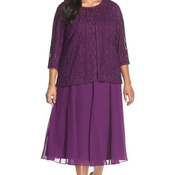 Plus Size Women's Alex Evenings Embroidered Mock Two-Piece Dress with Jacket,