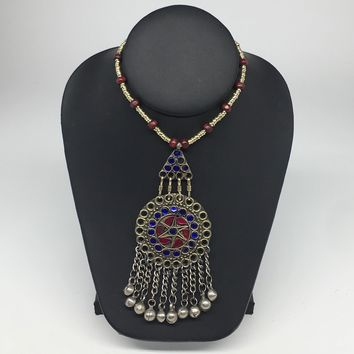 Kuchi Necklace Ethnic Afghan Tribal Multi-Color Glass Jingle bell Necklace NK24