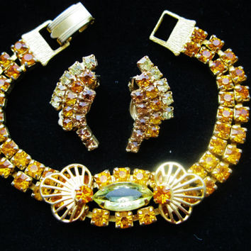Vintage Art Deco  Amber Glass Rhinestone Bracelet & Earring Set