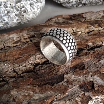 Silver band dotted ring, women's dot design ring, wide modern ring, statement ring, urban chunky ring, uno de 50 style ring, girlfriend gift