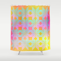 Idun Goddess of Youth Shower Curtain by Gréta Thórsdóttir #floral #girly #ikat  #ethnic #zigzag #coral #mint #bathroom