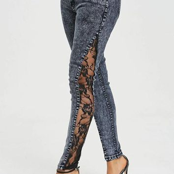 Grey Patchwork Lace Pockets High Waisted Zipper Long Jeans
