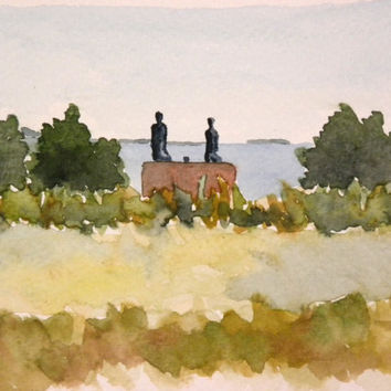 "Statue called ""Happiness"" on Helsinki shoreline. Original watercolor painting."
