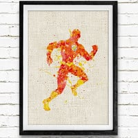 The Flash Watercolor Art Print, Comic Superhero Watercolor Poster, Boys Room Wall Art, Home Decor, Not Framed, Buy 2 Get 1 Free!