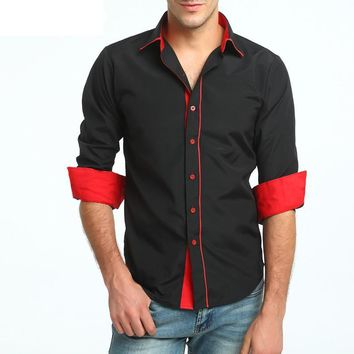 Fashion Male Shirt Long-Sleeves Tops Business High Quality Shirt Mens Dress Shirts Slim Men Shirt