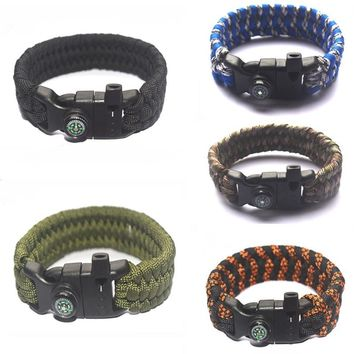 Multifunction Outdoor Survival Paracord Whistle Bracelets Compass Kits