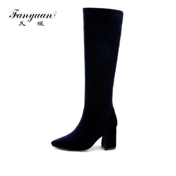 Fanyuan Luxury Women Knee High Boots High Heels Thigh High Boots Autumn Winter Zipper Pointed Toe Stretch Shoes Blue size 44