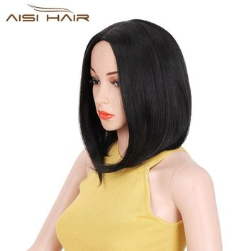 It's a wig 12'' Short Bob Synthetic Wigs Natural Black Straight Hair Middle Part Fashion Wig for Women High Temperature Fiber