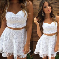 2016 A Line Summer Women 2 Two Piece Lace Dress White Spaghetti Strap V Neck Casual Mini Vestido Club Party Dress Plus Size