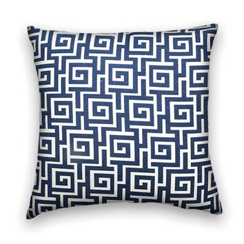 Greek Key Decorative Pillow Cover--18x18 Classic Throw Pillow--Navy and White