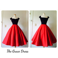 The Grace Dress in CHERRY RED 1950s Swing Dress, Tea Length Pin Up Party, Mod Black Capped Sleeves Off the Shoulder Sexy Sweetheart Neckline