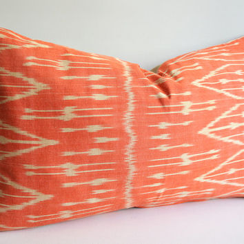 Sukan / Chevron Ikat Throw - Orange Pillow - Decorative Pillow Cover - Modern Boho Decor - Ikat Pillow Cover - Decorative Throw Pillow 16x24