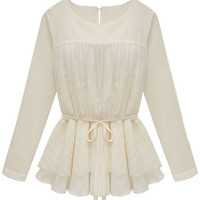 ROMWE | Lace Flouncing Pleated Cream Blouse, The Latest Street Fashion