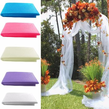 1000cm *70 cm Festival Party Decoration Roll Crystal Organza tulle roll Fabric Sheer Gauze Element Arch Hangings Fabric