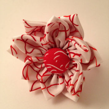 Red and White Flower Ponytail