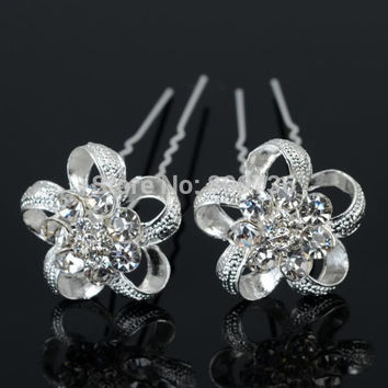 12pcs New Silver Plated Crystal Flower Wedding Bridal Hair Clip hairpins Women hair pin Chic Jewelry Party Accessories