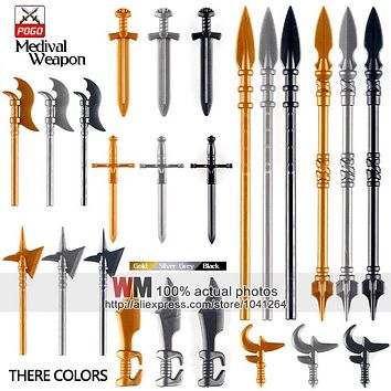 10pcs/lot Latest Weapon Sword Helmet Armor Shield Accessories Building Blocks Bricks Medieval Knight Weapons
