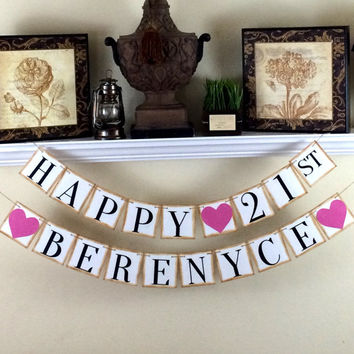 Happy 21st Birthday Banner / Personalized Birthday Banner / Happy Birthday Banner / Custom Banner