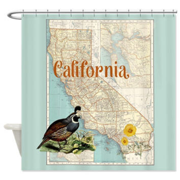 California Map Shower Curtain - California Quail, Orange Poppy, aqua- surfer, beach, So Cal, decor