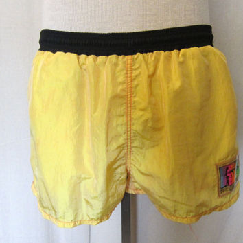 Vintage Rare 80s HOBIE BEACH SURF Summer Nylon Men Women Lined Swim Shorts