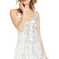 Silver Sequined Strappy Skater Dress