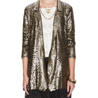 Sequin Blazer with Lace Trim
