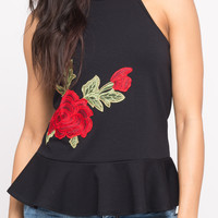 HIGH NECK TOP WITH ROSE APPLIQUE