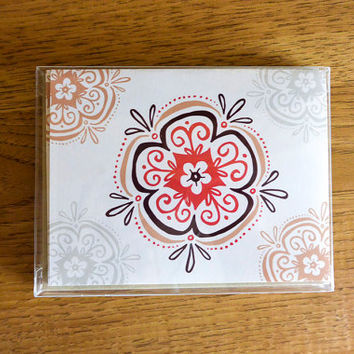 Pack of 5 Mandala Greeting Cards - Blank, Thinking of You Card, Hand-drawn, Hostess Gift, Gift