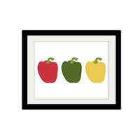 "Three peppers. Food. Vegetable. Veggies, Green, red, yellow. Kitchen Decor. Minimalist. 8.5x11"" Print."