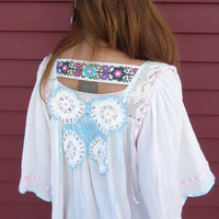 Boho Hippie Love Angel Butterfly Sleeve Babydoll Trapeze Gauze Mexican Woven Top Blouse By MountainGirlClothing