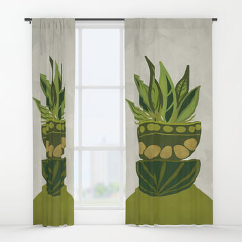 Still life Green plants Window Curtains by vivigonzalezart