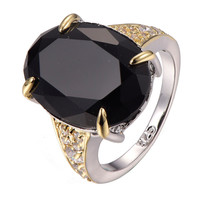 ONYX STONE GOLD PLATED STERLING SILVER STATEMENT RING