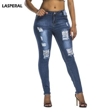 LASPERAL 2017 High Waist Jeans Hole Ripped Jeans Women Jeggings Denim Pants Female Fashion Blue Skinny Trousesrs Pencil Pant