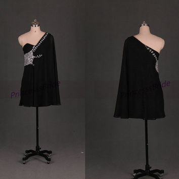 2014 short black chiffon homecoming dress,unique prom gowns with rhinestones,cheap chic women dresses for holiday party hot.