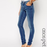 ASOS PETITE Mid Rise Ultra Skinny Jeans In Mid Vintage Wash