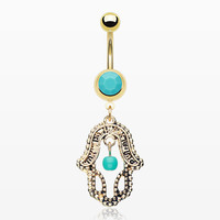 Golden Turquoise Hamsa Belly Button Ring