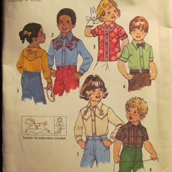 SALE Uncut 1970's Simplicity Sewing Pattern, 7685! Size 5-6 Girls/Boys/Collared Shirts/Tops/Cowgirl/Cowboy/Transfers/Button Up Tops/Children