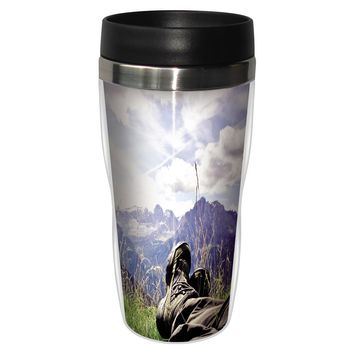 Relax Artful Travel Mug - Premium 16 oz Stainless Lined w/ No Spill Lid