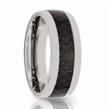 Aydins Mens Tungsten Wedding Band w/ Black Carbon Fiber Inlay Domed 8mm Tungsten Carbide Ring