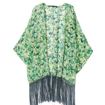Green Floral Print Fringed Cardigan