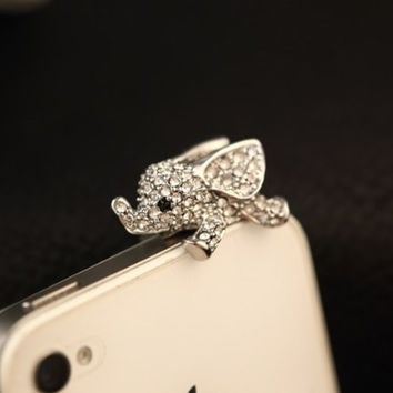 Big Mango Crystal Elephant Anti Dust Plug Stopper / Ear Cap / Cell Phone Charms for Smartphone, iPad with 3.5mm Earphone Jack Phones - Silver