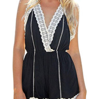 Black Romper with Crochet Trim