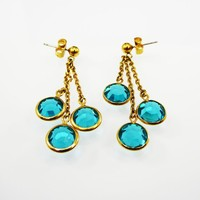 Teal Blue Bezel Set Crystal Beads Earrings Dangling on Gold Tone Chains and Pierced Stud / Post Style Vintage 1980s 1990s Three Strand Bead
